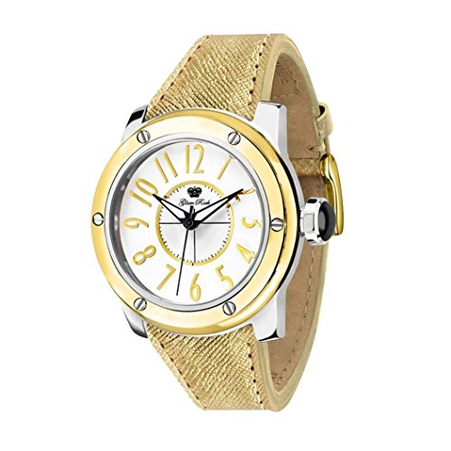 Glam Rock Women's Aquarock 42mm Gold-Tone Leather Band Steel Case Quartz White Dial Analog Watch AR5002
