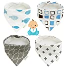 Mamito Bandana Baby Bibs 4-Pack, Absorbent Unisex Cotton baby Bib, Soft & Adjustable