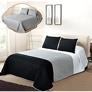 All American Collection New 3pc Solid Three Color Combination Reversible Bedspread Set (FULL/ QUEEN, White/Grey/Black)