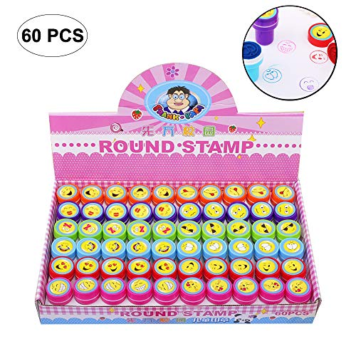 Leegoal Assorted Stampers, Funny Animal/Fruit/Emoji/Letter Stampers for Kids Great Party Favors, Bag Stuffers, Fun, Toy, Gift, Prize (Emoji) by Leegoal