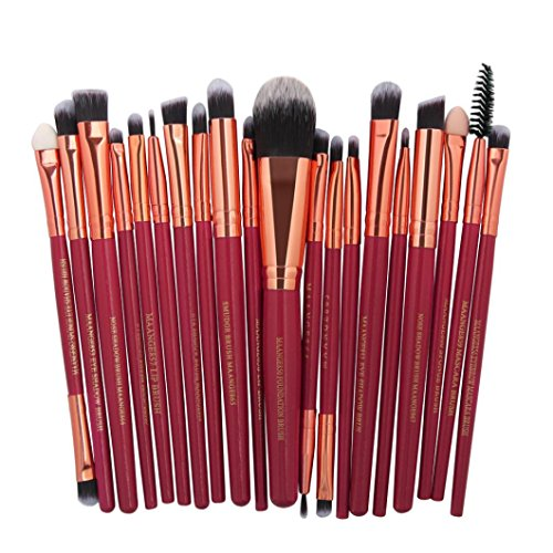TrimakeShop 20Pcs Plastic Handle Make Up Brushes Set Foundat