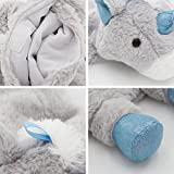 HomeTop Premium Classic Rubber Hot Water Bottle with Cute Unicorn Cover and Soft Fleece Cover (Gray Unicorn + Gray Polka Dot/Purple)
