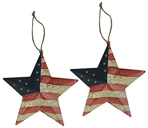 Country Americana 3D American Flag Christmas Star Ornaments, Set of 2 USA Red, White, & -