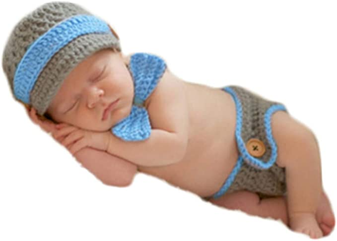 Baby Boys Girls Photography Clothing Marine Corps Model Knitted Shorts+Hat F07#