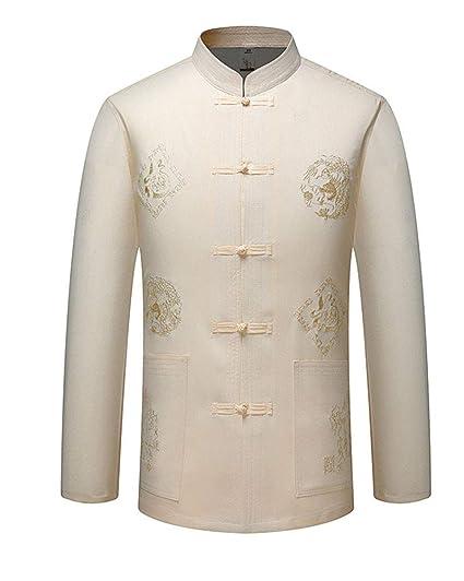Hombres Estilo Chino Lino Traje Tang Bordado Top Comodo Tai Chi Shaolin Camisa de Entrenamiento