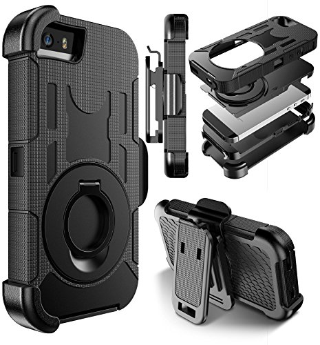 iPhone SE Case, E LV iPhone 5SE Case Cover - Dual Layer Armor Defender Protective Case Cover with kickstand and Belt Swivel Clip for iPhone 5 5S SE - [BLACK]