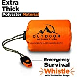 Outdoor Designs USA Emergency Waterproof Bivy Sack Sleeping Bag with Survival Gear Whistle - Ultra Lightweight, Compact Thermal Blanket, Reflective, Reusable, Durable Bivvy