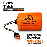 Outdoor Designs USA Emergency Waterproof Bivy Sack Sleeping Bag with Survival Gear Whistle