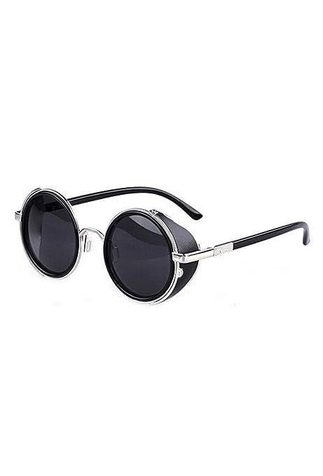 TOOGOO(R)Gafas de sol de Steampunk clasica Redonda de Estilo vintage de los anos 80 -Negro con el borde de plata