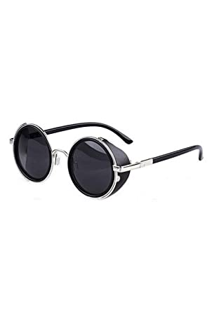 6181c5c28b SODIAL Vintage Style Round Steampunk Men s Sunglasses with Silver Edge  (052009)  Amazon.in  Clothing   Accessories