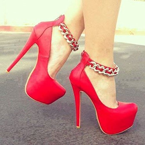 And Colors Round Prom Red High Pu Pumps Four Shoes Heeled 14 Beautiful Sandals Pink Purple Toe VIVIOO 6 Sweet 5 5 Cm Black Red vtxAwUdqqZ