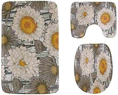 Toilet Rug Cover Set Art Rose Daisy Watercolor Painting 3-Piece Soft Shower Bath Rugs Contour Mat and Toilet Seat Lid Cover Flannel Toilet Rug and Cover Set / Toilet Rug Cover Set Art Rose Daisy Watercolor Painting 3-Piece Soft Sho...