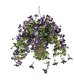 Artificial Purple Petunia in Beehive Hanging Basket