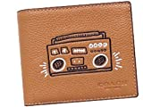 COACH X Keith Haring 3 in 1 Compact ID Leather Passcase Bifold Wallet in Caramel F87103