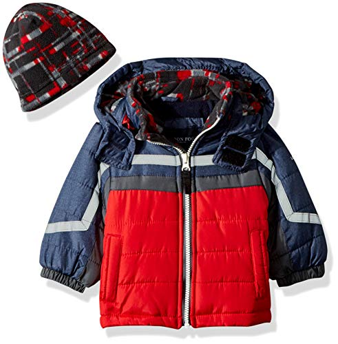 London Fog Baby Boys Active Heavyweight Jacket with Ski Cap, Super red, 18M