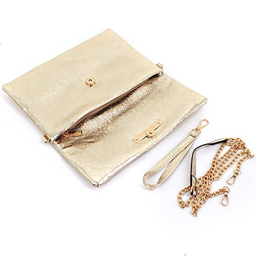 Felice Stylish Envelope Evening Casual Clutch Handbag Gold Clutch Fashionable Large Daily PqpwxHPF