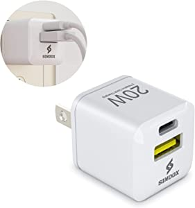 SINDOX USB A+C Wall Charger 20W PD Portable Double-Port Fast Charging Ultra Compact for Type C Travel Plug Cube Power Adapter for iPhone 12/ Mini / 11/ Pro Max/Xs/Galaxy 10/ Note 10 White