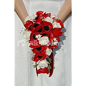 White, Red Modern Rose & Anemone Bridal Bouquet, Crystal Sprays 29