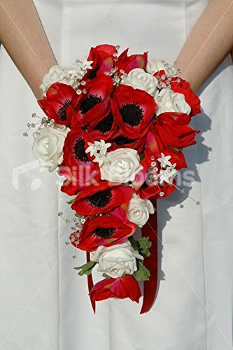 White, Red Modern Rose & Anemone Bridal Bouquet, Crystal Sprays Silk Blooms Ltd 2328