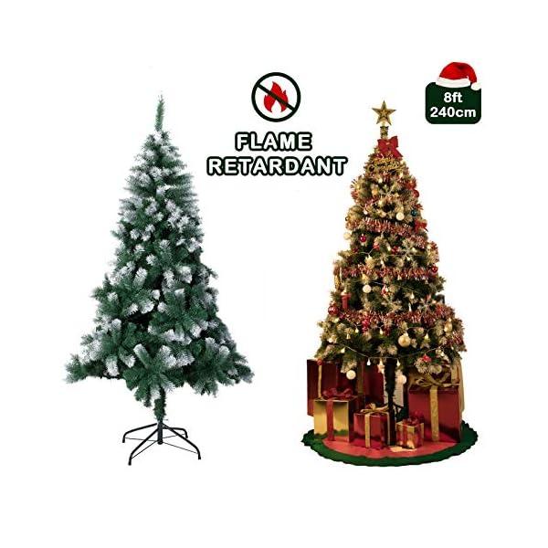 TopVita Albero di Natale Bianco Verde, Albero di Natale Artificiale in PVC Ignifugodi in Diverse Misure (Verde e Bianco, 2,4 Metri) 2 spesavip