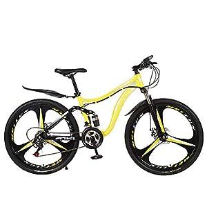 51S8ks7Wg5L. SS300 26 Pollici Mountain Bike per Adulti Bicicletta Doppia Resistenza All'assorbimento degli Urti Non Smorzata Auto Studente Bicicletta in Bicicletta Gita A Scuola per Lavorare,Giallo,21 Speed