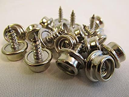 """20 Pro Boat Canvas Stainless Steel Screw in Snap Studs 5//8/"""" W// OVERSIZE SCREW"""