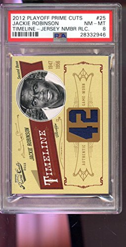 2012 Playoff Prime Cuts Timeline Jackie Robinson Game-Used Jersey Card Worn - PSA/DNA Certified - Baseball Game Used Cards