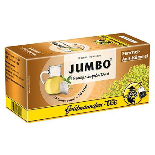 Goldmännchen Jumbo Tee Fenchel-Anis-Kümmel, Kräutertee, 20 Teebeutel, Große Beutel, 3121