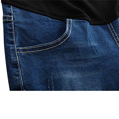Blu Nuovo Jeans Leggings Banda Donna Maternità Ventre Xinvision Premaman Pantaloni Regolabile Shorts PfxnBR