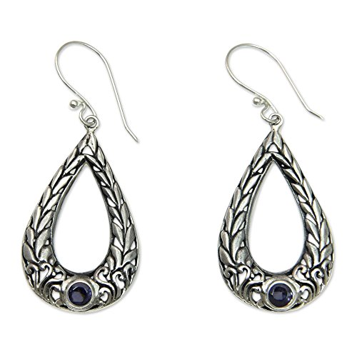 NOVICA Amethyst .925 Sterling Silver Dangle Earrings 'Earth's Harvest'