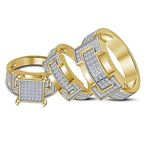 2heart Mens & Ladies 14k Yellow Gold Fn 1.2 Ct Diamond Engagement Wedding Ring Trio Set by 2heart