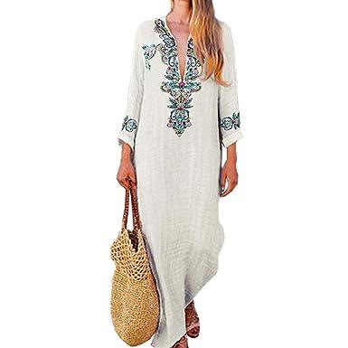 42027831e51 FULA-bao Women Boho Floral Print Cotton Linen Maxi Dresses Sexy V Neck Long  Sleeve Retro Dress at Amazon Women s Clothing store