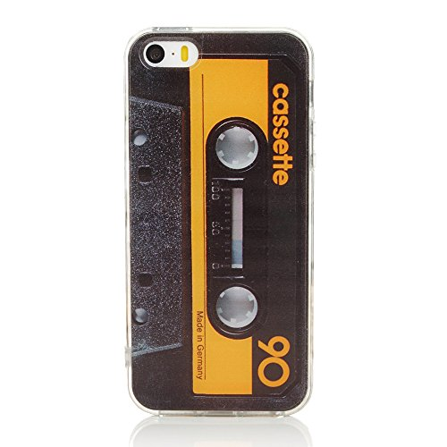 Cassette Case Cover - TNCY Slim Soft Flexible TPU Bumper Retro Music Cassette Tape Funny Phone Case Cover Fit iPhone 5 5S SE Yellow