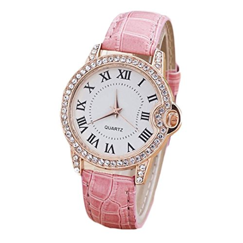 Diamond Outdoor Clock - Inkach Women Lady Girl Watches Fashion Leisure Time Faux Leather Analog Diamond Simple Clock Dial Wrist Watch Sport Watch Gift (Pink)