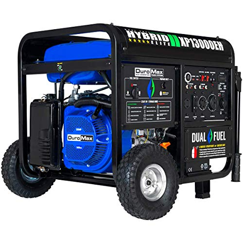 DuroMax XP13000EH Dual Fuel Portable Generator - 13000 Watt Gas or Propane Powered-Electric Start- Home Back Up & RV Ready, 50 State Approved