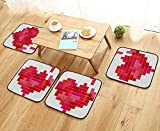 Leighhome Home Chair Set Video Game Tetris Red Heart Vintage Pixelated Design Joyful Romantic Red Pink Scarlet Machine-Washable W21.5 x L21.5/4PCS Set