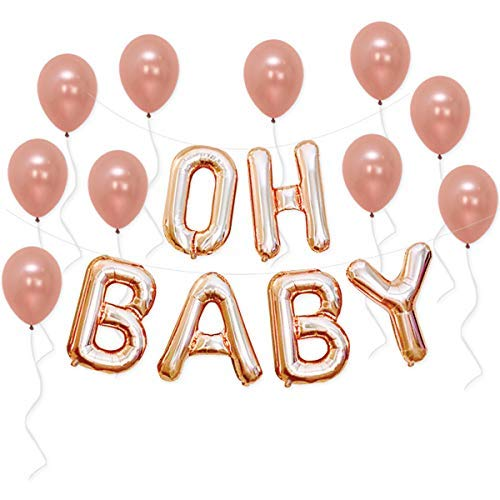 Oh Baby Balloons, Rose Gold Letter Balloons - Great for Gender Reveal Party | Baby Shower Decorations Backdrop |16 Inch, Mylar Foil Letter Balloons | Extra Pack of 10 Rose Gold Latex Balloons & String