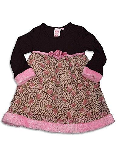 (ME ME ME BY LIPSTIK - Little Girls's Long Sleeve Leopard Dress, Brown, Pink, 95% Cotton 5% Spandex)