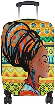 My Daily African Woman Tribal Striped Luggage Cover Fits 29-32 Inch Suitcase Spandex Travel Protector XL