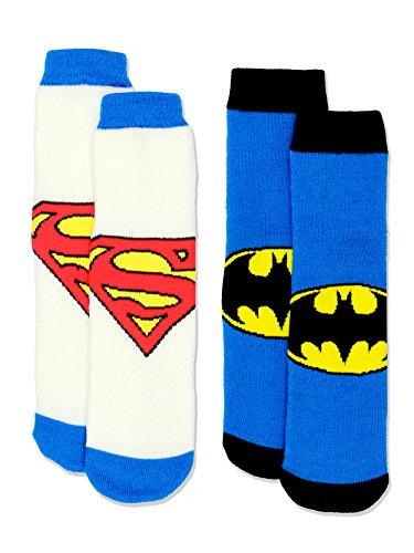 Justice League Superman Batman Boy's 2 Pack Slipper Sock Set (S-M Toddler (Shoe: 7-10) / White/Blue)
