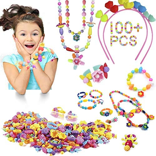 Pop Snap Beads STEAM Toys Jewelry Making Kit Beads for Kids Girl Toys for 3 4 5 6 7 8 9 Year Old Children Girls - (100 PCS)