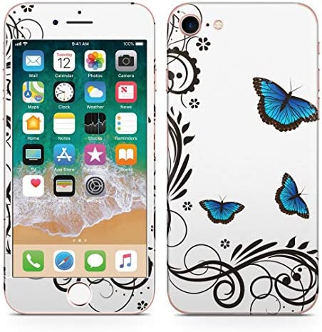 igsticker iPhone SE 2020 iPhone8 iPhone7 専用 スキンシール 全面スキンシール フル 背面 側面 正面 液晶 ステッカー 保護シール 009684 蝶 フラワー 青
