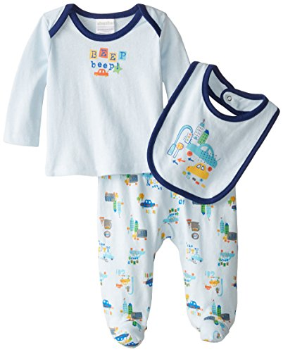 Absorba 2 Piece (ABSORBA Baby-Boys Newborn Big City 3 Piece Footed Pant Set, Blue, 0-3 Months)
