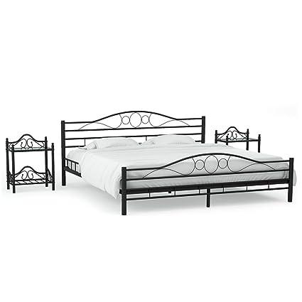 Festnight Bettgestell Doppelbett Metallbett Bettgestell Bett Bettrahmen Lattenrost /& Kopfteil f/ür Schlafzimmer oder G/ästezimmer Wei/ß Metall 140/×200 cm
