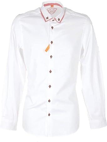 Country Maddox 14 - Camisa para hombre, color blanco y rojo ...