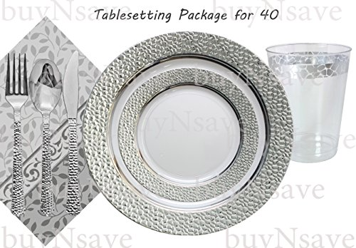 Elegant Wedding Party Disposable Plastic Plates Hammered Clear with Silver,for 40 Guests,Dinner Plates10.25
