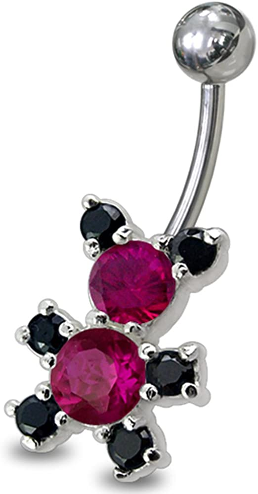 Fancy Teddy Bear 925 Sterling Silver with Stainless Steel Belly Button Navel Rings