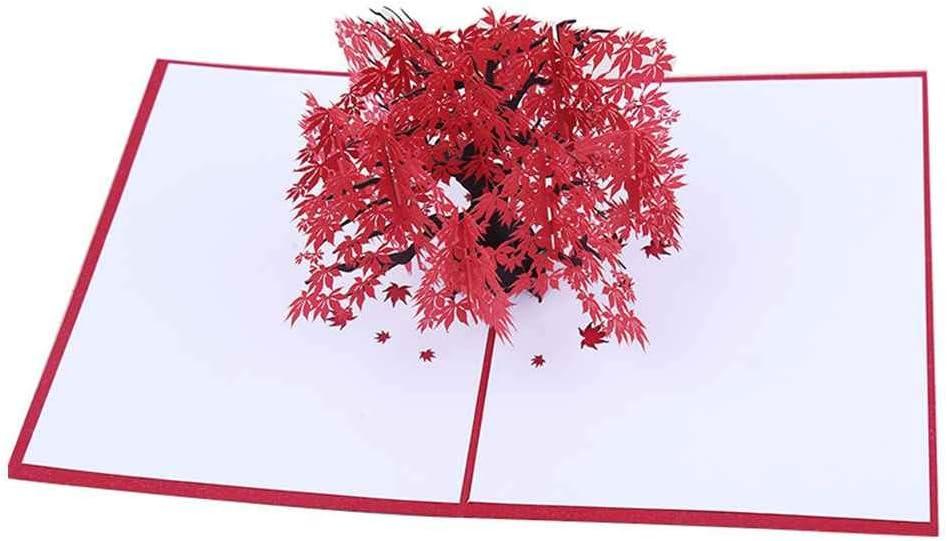 Guangcailun Hecho a Mano 3D Tarjetas de la Hoja del /árbol de Arce Rojo Tarjeta de cumplea/ños del Deseo del Papel Plegable Regalo Tarjetas Talla