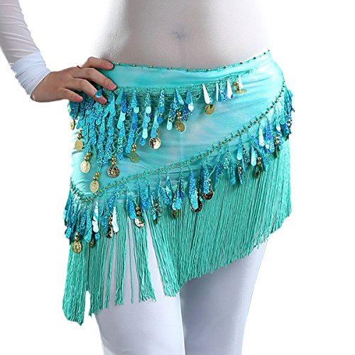 Coin Tribal Belly Dance (Belly Scarf Coins for Women Belly Dance Clothing Tassel Wrap Skirt Belt Hip Scarf Sequins)