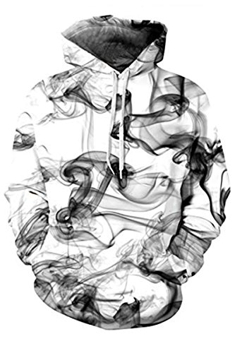 Haloon Digital Printed Graphic Streetwear Hip Hop Hooded Sweatshirt Ink Mist L